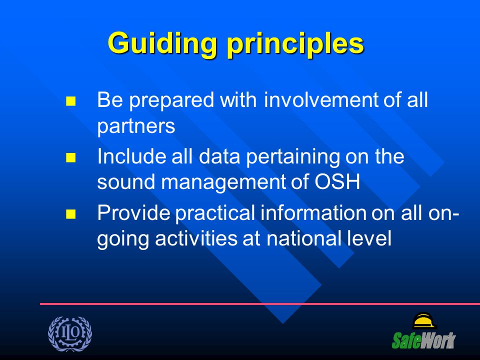Guiding principles Be prepared with involvement of all partners