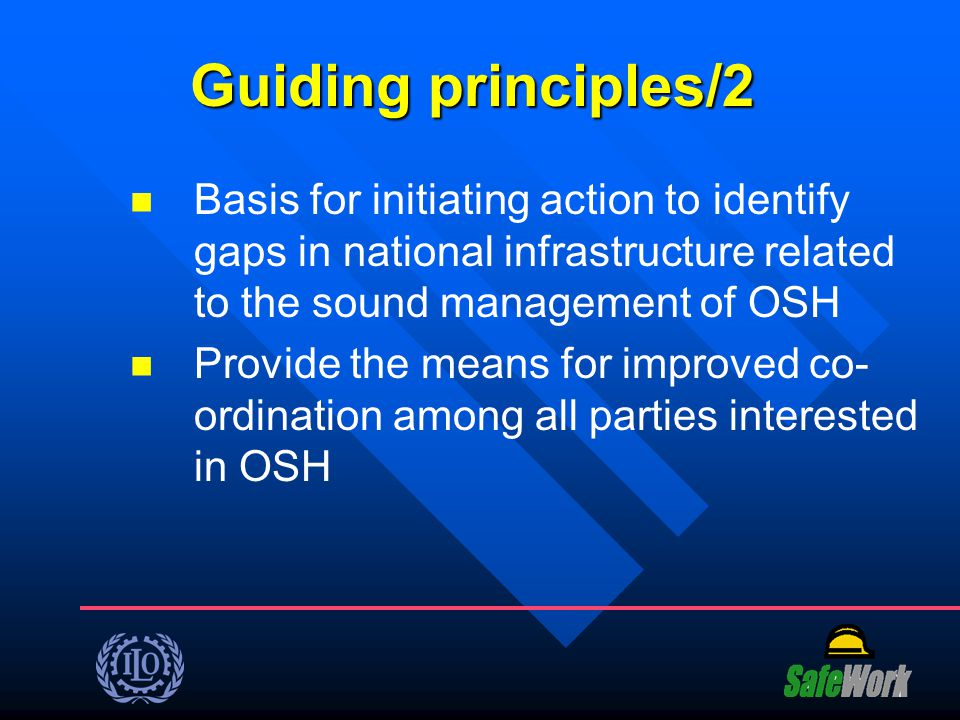 Guiding principles/2 Basis for initiating action to identify gaps in national infrastructure related to the sound management of OSH.
