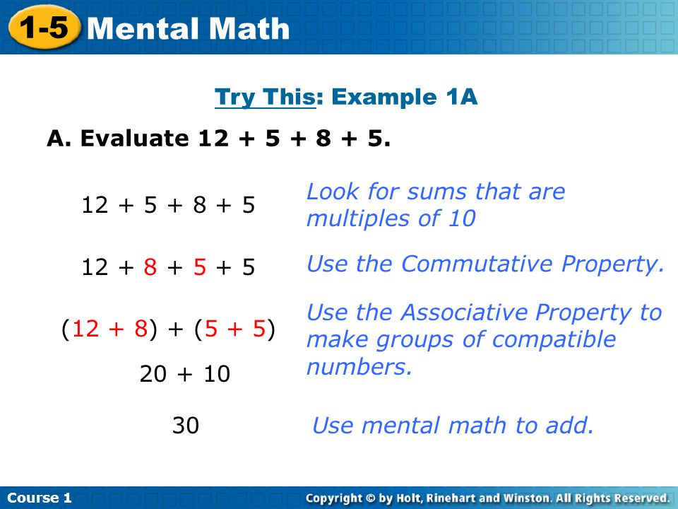 1-5 Mental Math Try This: Example 1A A. Evaluate