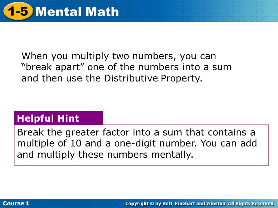 Course Mental Math.