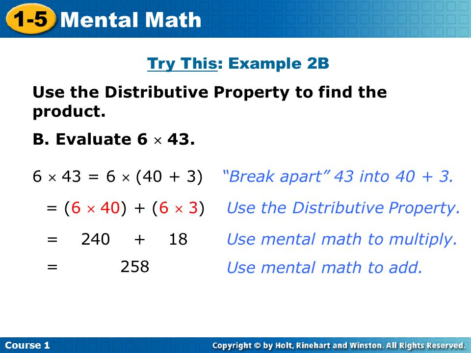 1-5 Mental Math Try This: Example 2B