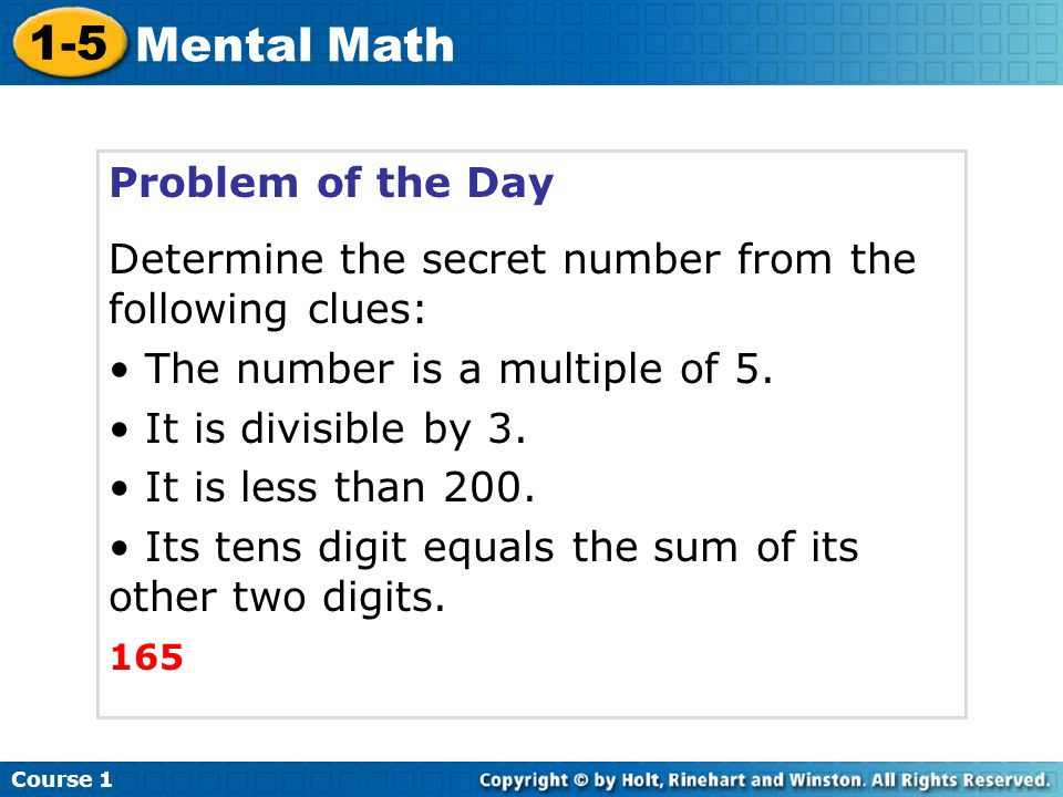 1-5 Mental Math Problem of the Day