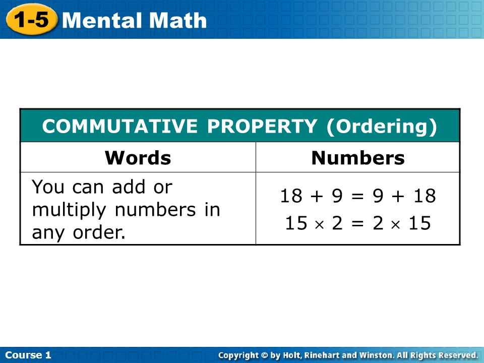 COMMUTATIVE PROPERTY (Ordering)