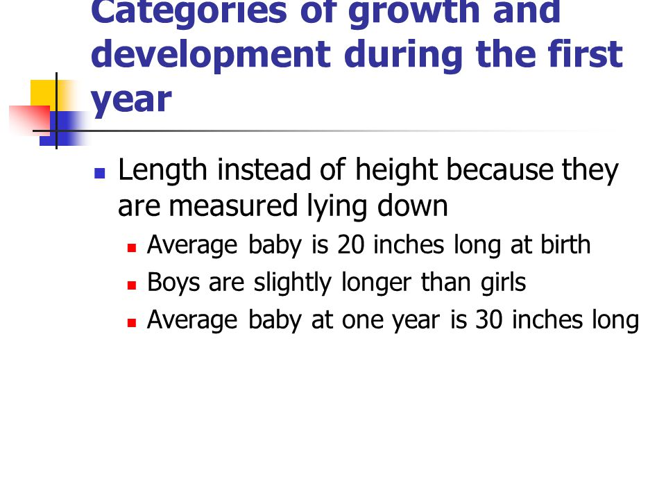Categories of growth and development during the first year