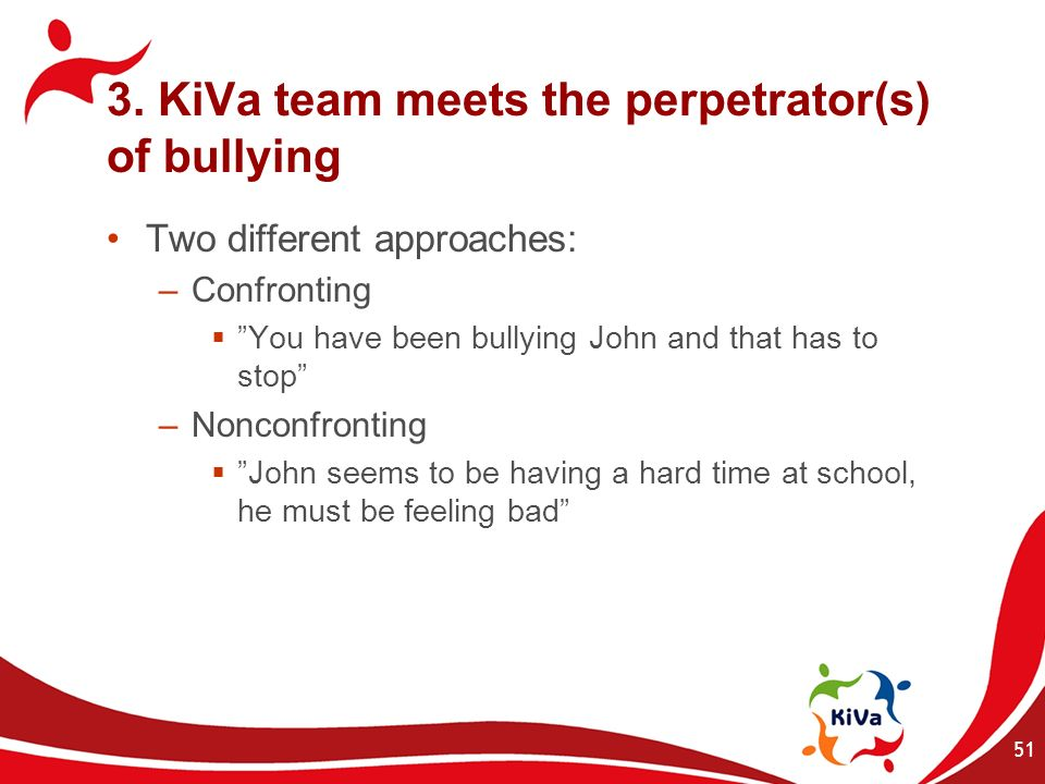 3. KiVa team meets the perpetrator(s) of bullying