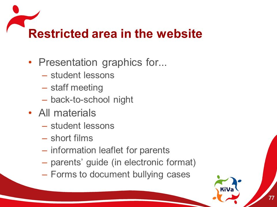 Restricted area in the website