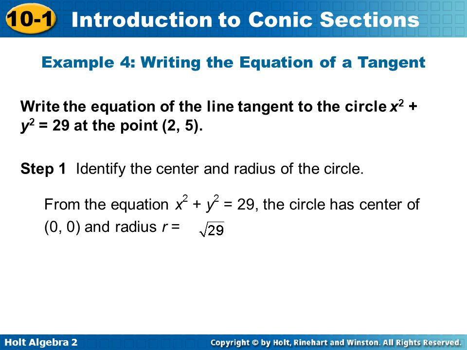 Example 4: Writing the Equation of a Tangent