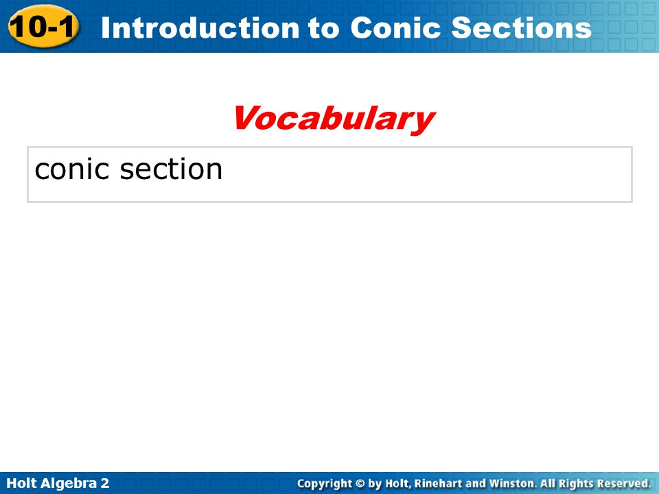 Vocabulary conic section