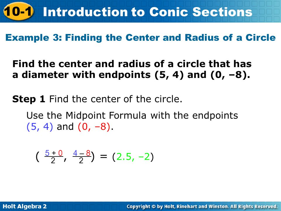Example 3: Finding the Center and Radius of a Circle