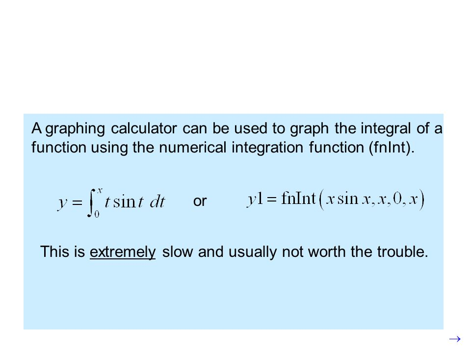 A graphing calculator can be used to graph the integral of a function using the numerical integration function (fnInt).