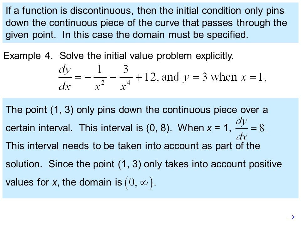 If a function is discontinuous, then the initial condition only pins down the continuous piece of the curve that passes through the given point. In this case the domain must be specified.