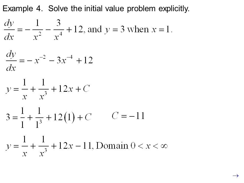 Example 4. Solve the initial value problem explicitly.