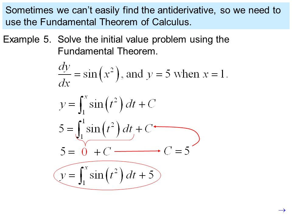 Sometimes we can't easily find the antiderivative, so we need to use the Fundamental Theorem of Calculus.