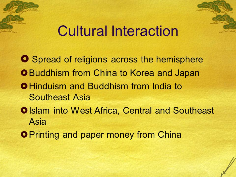 Cultural Interaction Spread of religions across the hemisphere