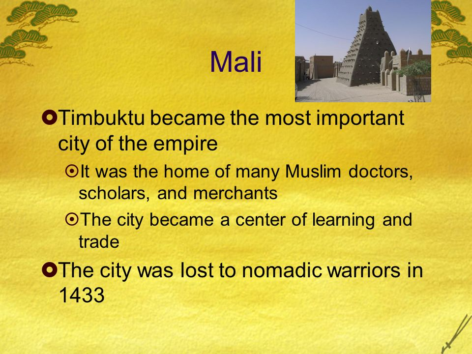 Mali Timbuktu became the most important city of the empire