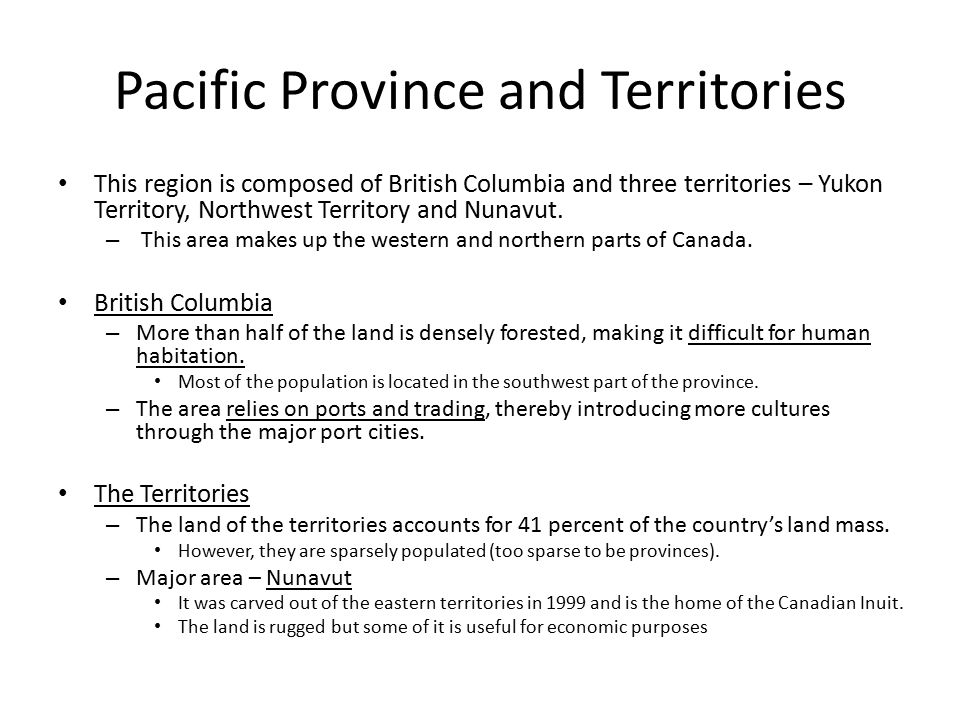 Pacific Province and Territories