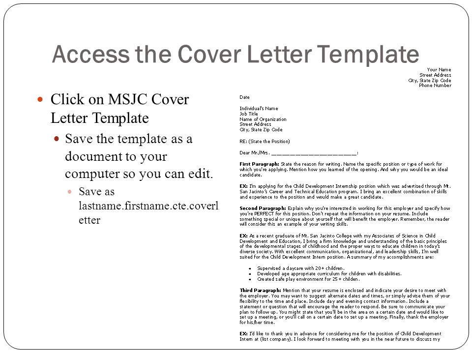 Access the Cover Letter Template