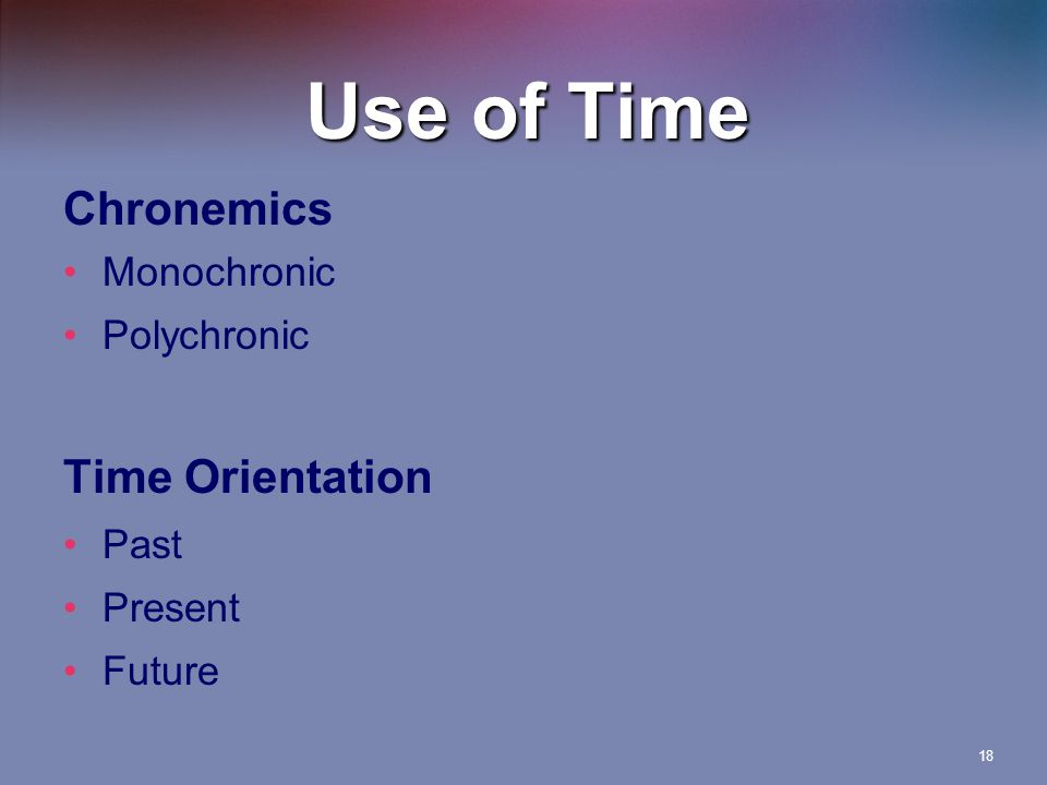 Use of Time Chronemics Time Orientation Monochronic Polychronic Past