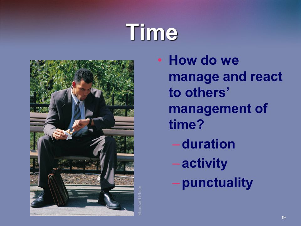 Time How do we manage and react to others' management of time