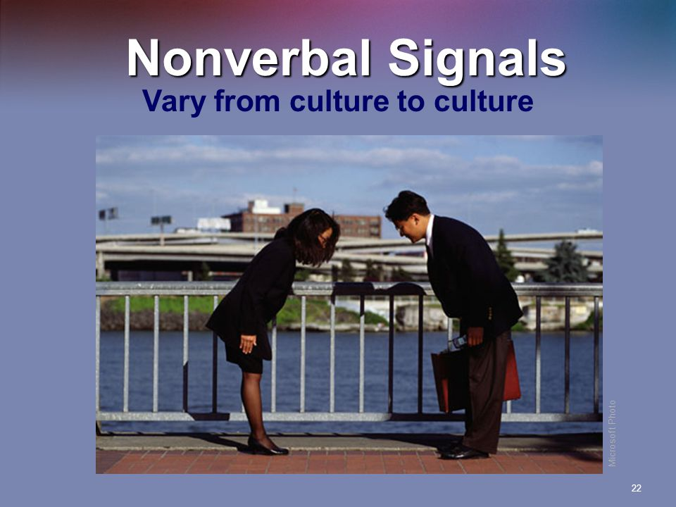 Nonverbal Signals Vary from culture to culture Microsoft Photo