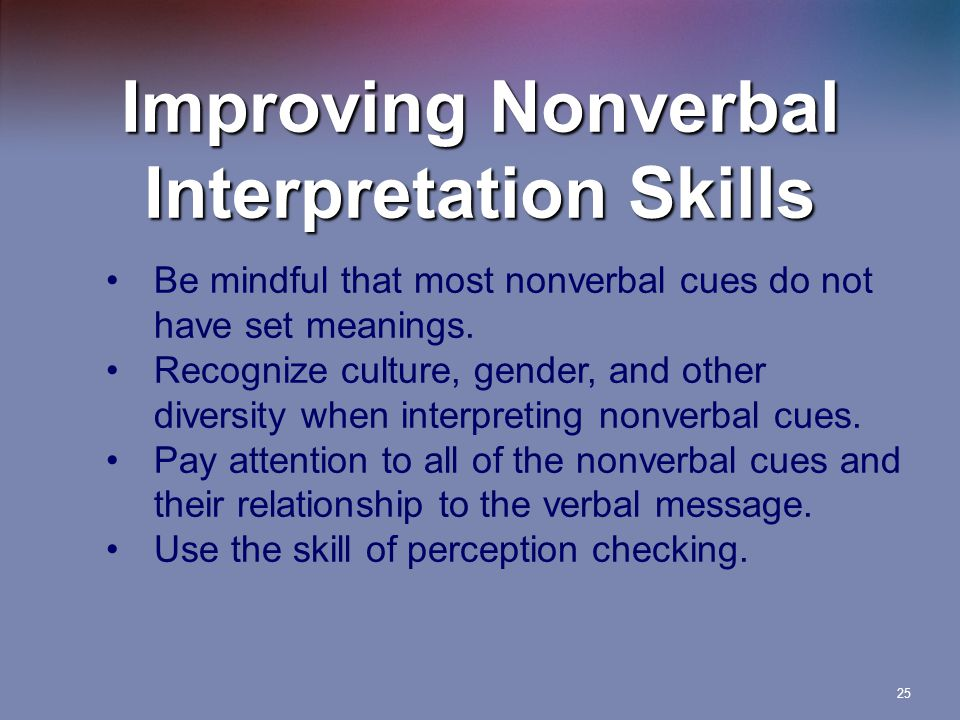 Improving Nonverbal Interpretation Skills