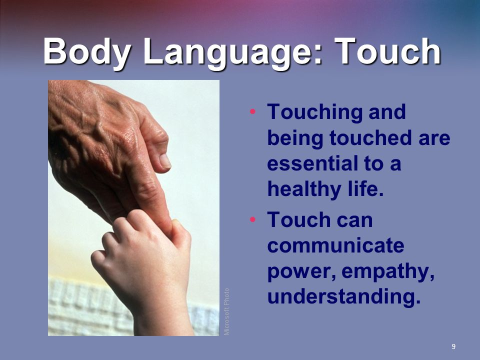 Body Language: Touch Touching and being touched are essential to a healthy life. Touch can communicate power, empathy, understanding.