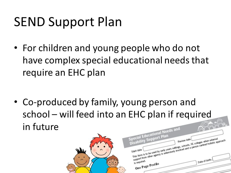 SEND Support Plan For children and young people who do not have complex special educational needs that require an EHC plan.