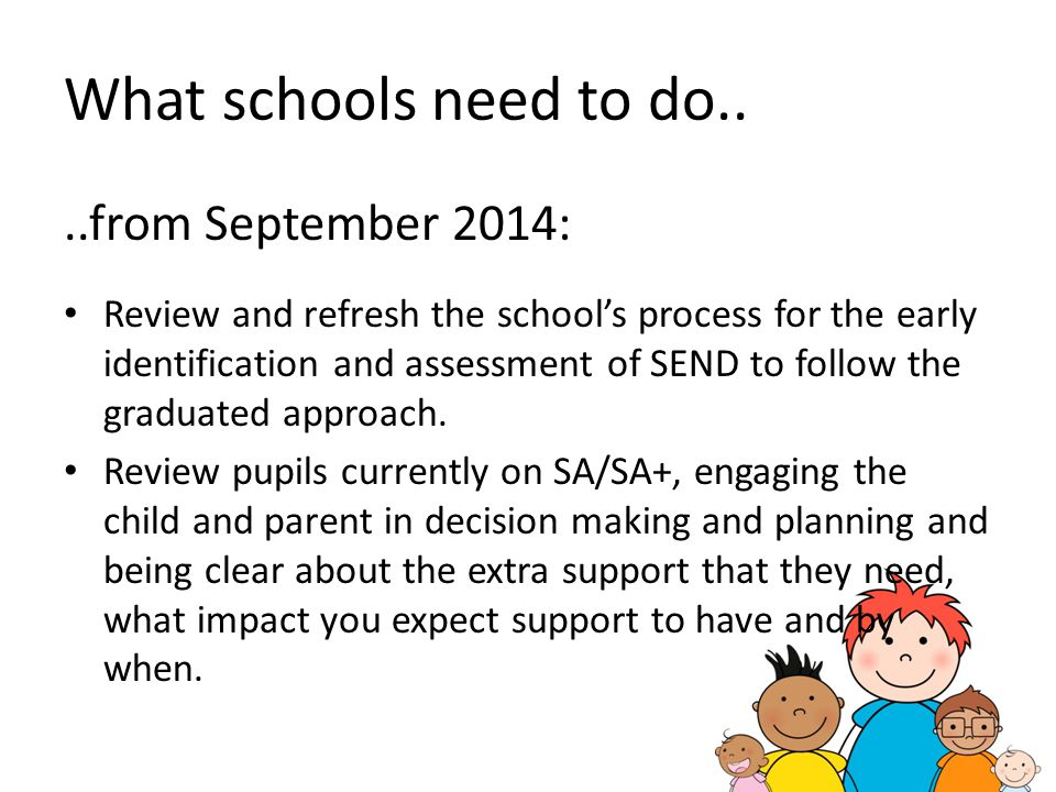 What schools need to do.. ..from September 2014: