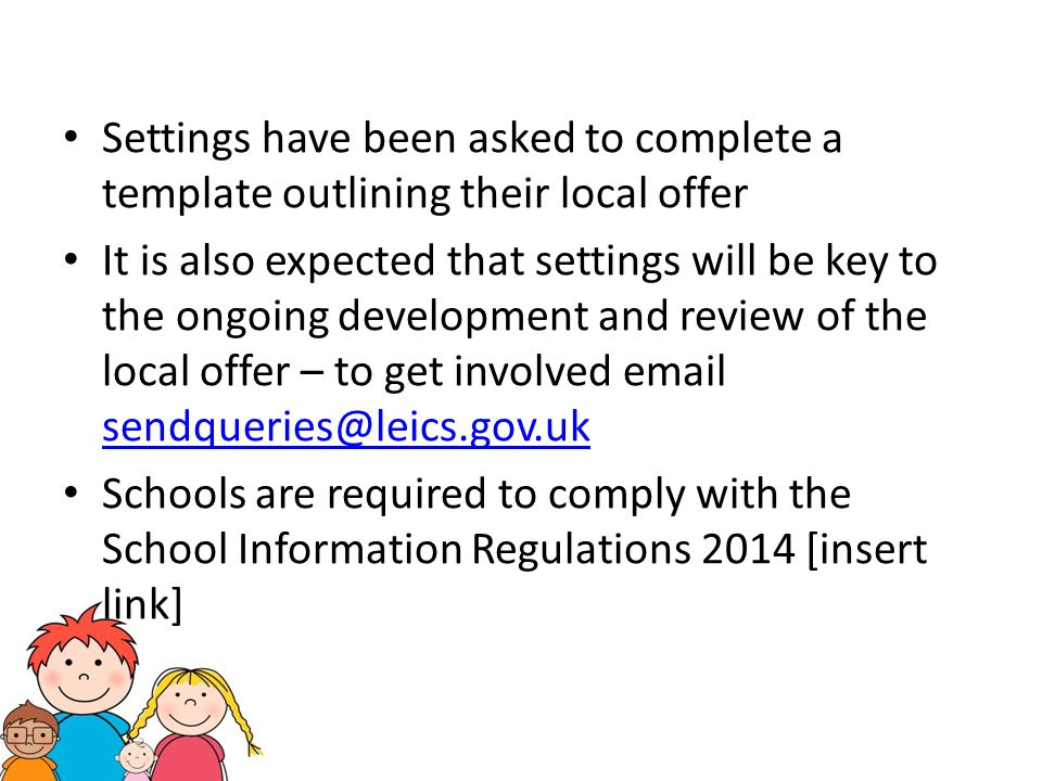 Settings have been asked to complete a template outlining their local offer