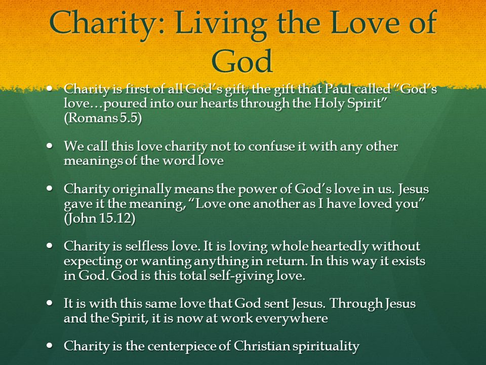 Charity: Living the Love of God