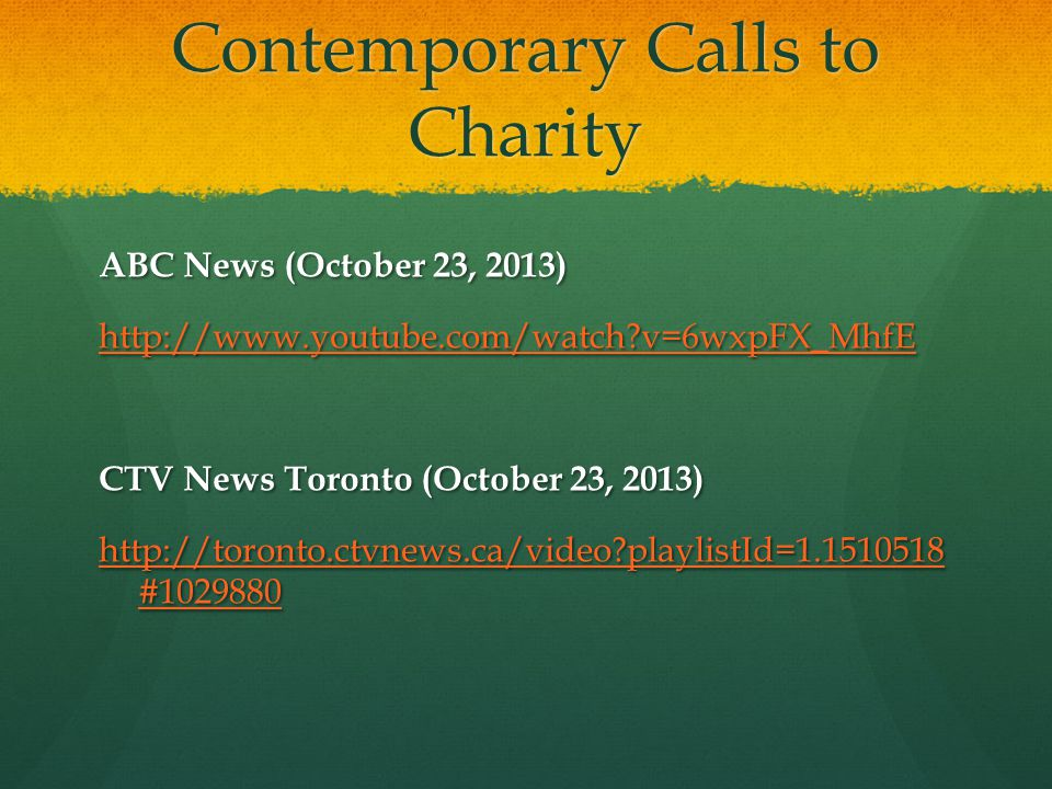 Contemporary Calls to Charity