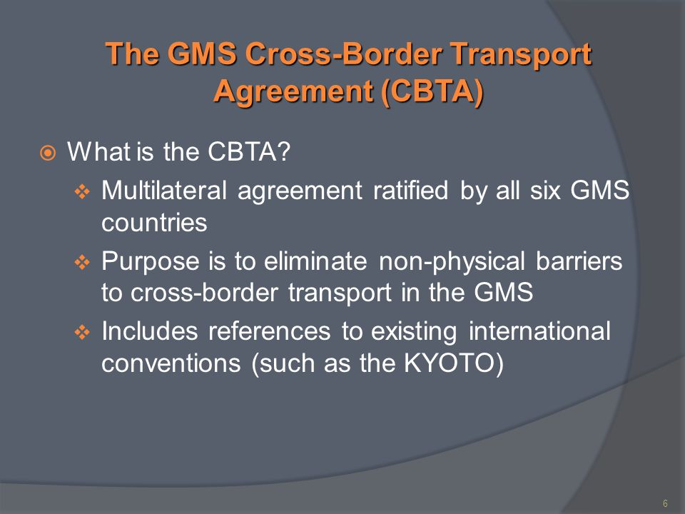 Gms Cross Border Transport Agreement Cbta And Logistic Network In