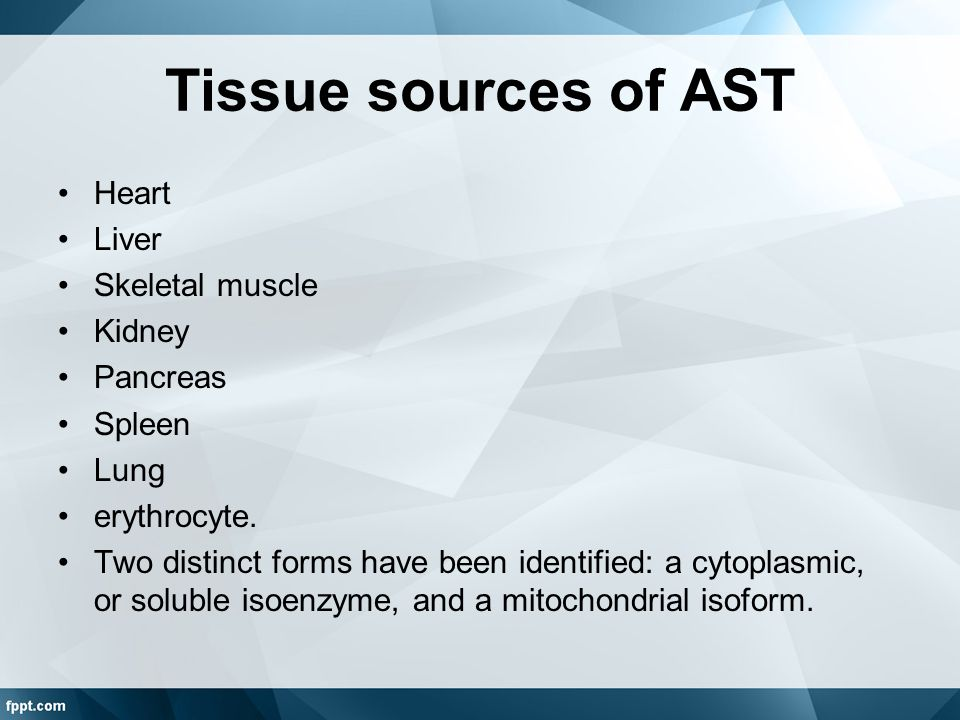 Tissue sources of AST Heart Liver Skeletal muscle Kidney Pancreas