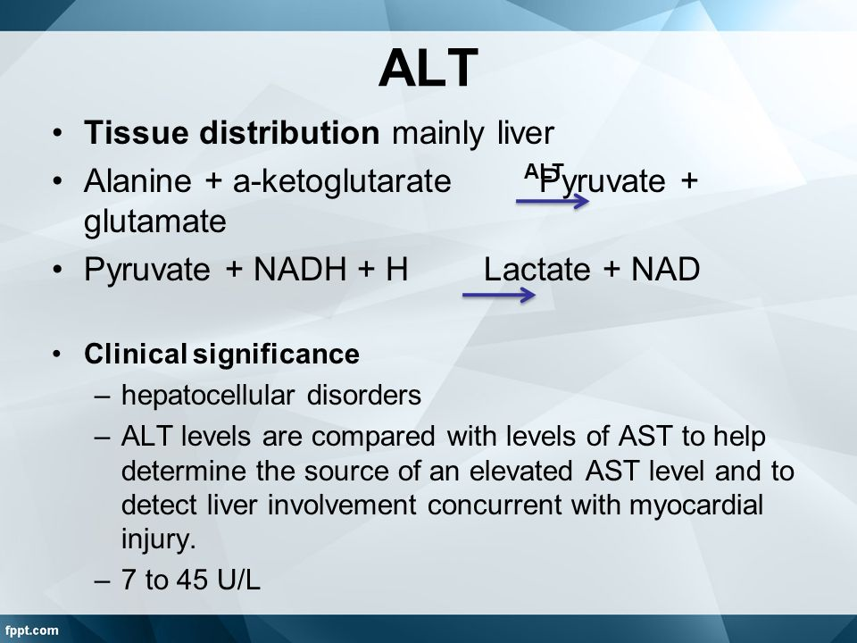 ALT Tissue distribution mainly liver