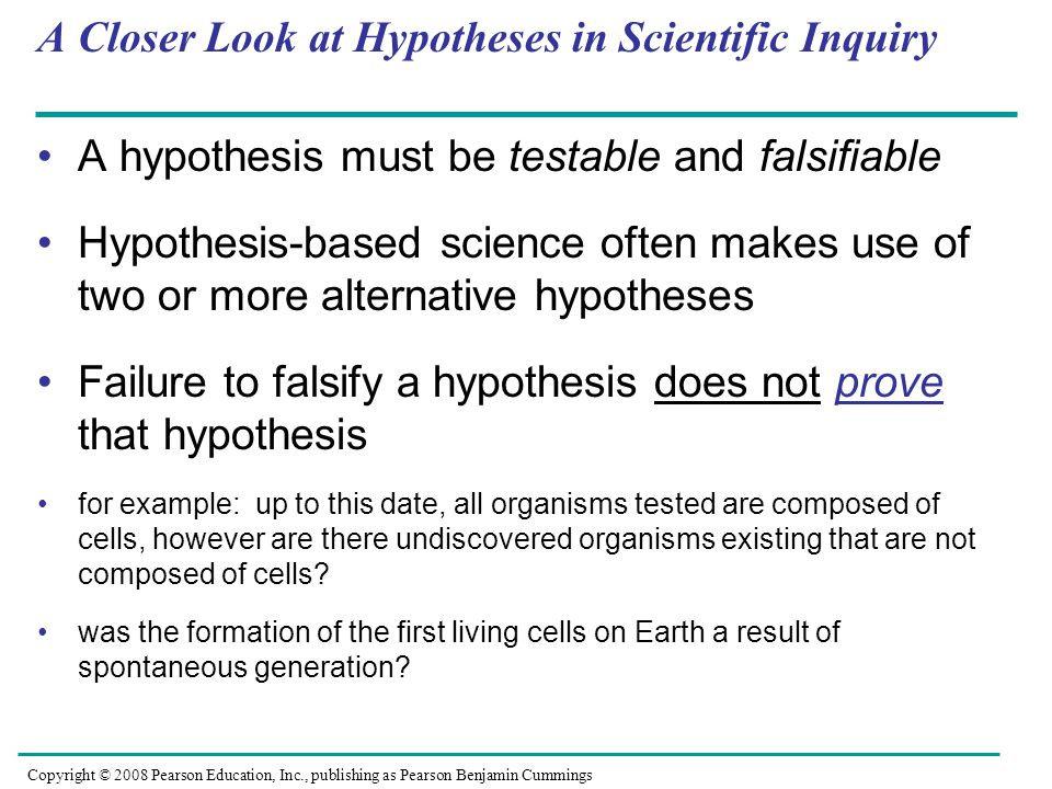 example of hypothesis based science
