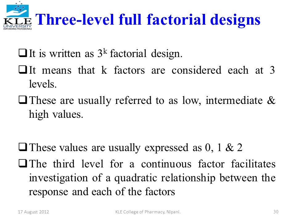 Three Level Full Factorial Designs