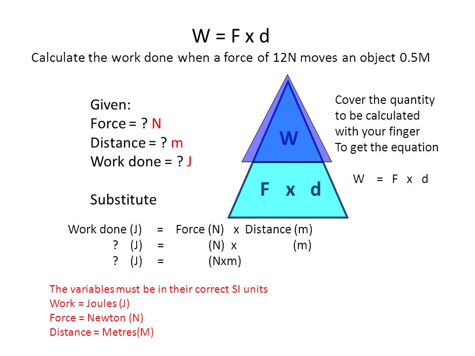 what is the equation for work