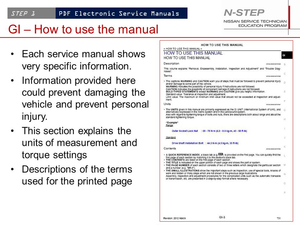 Working with NISSAN PDF Electronic Service Manuals - ppt download