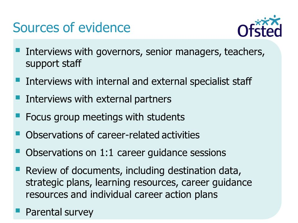Sources of evidence Interviews with governors, senior managers, teachers, support staff. Interviews with internal and external specialist staff.