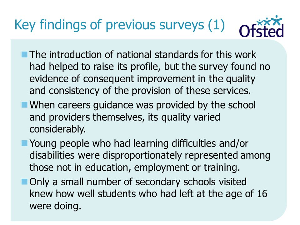 Key findings of previous surveys (1)