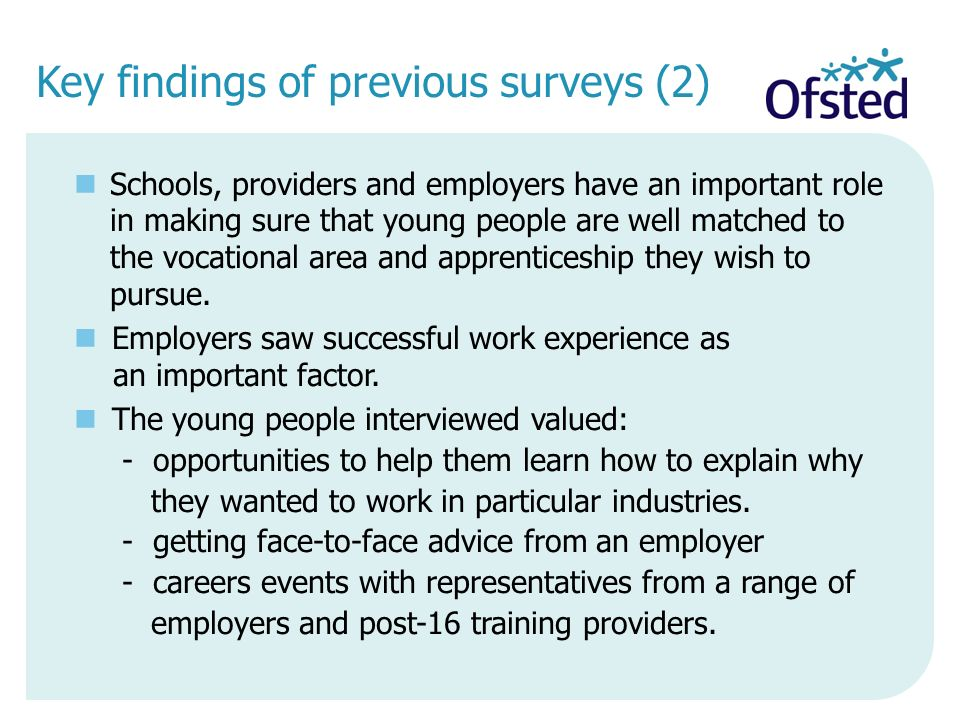 Key findings of previous surveys (2)