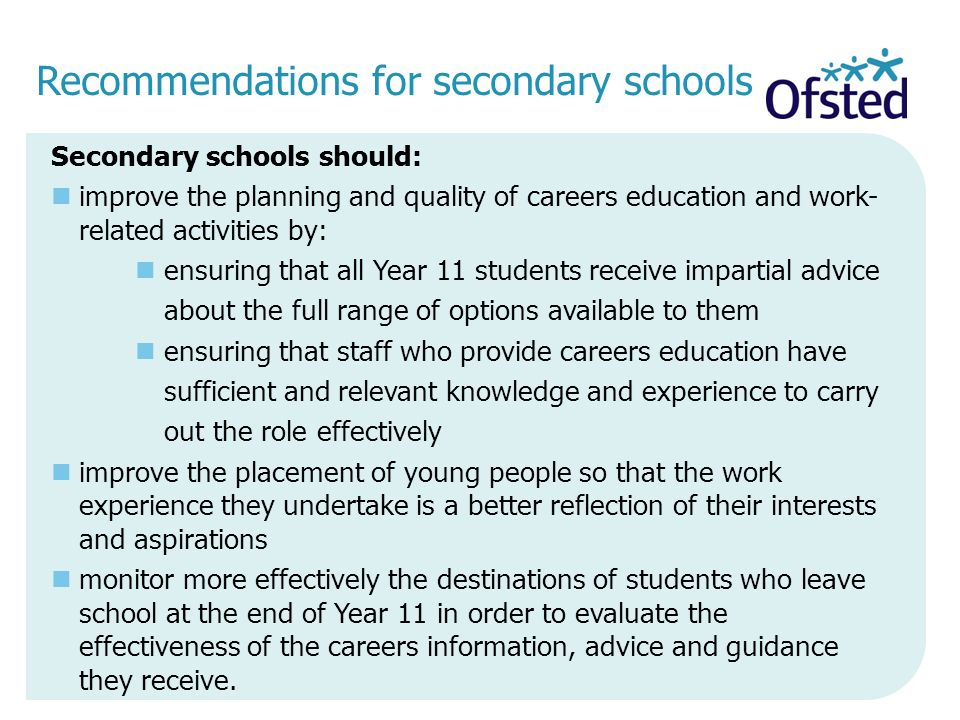 Recommendations for secondary schools