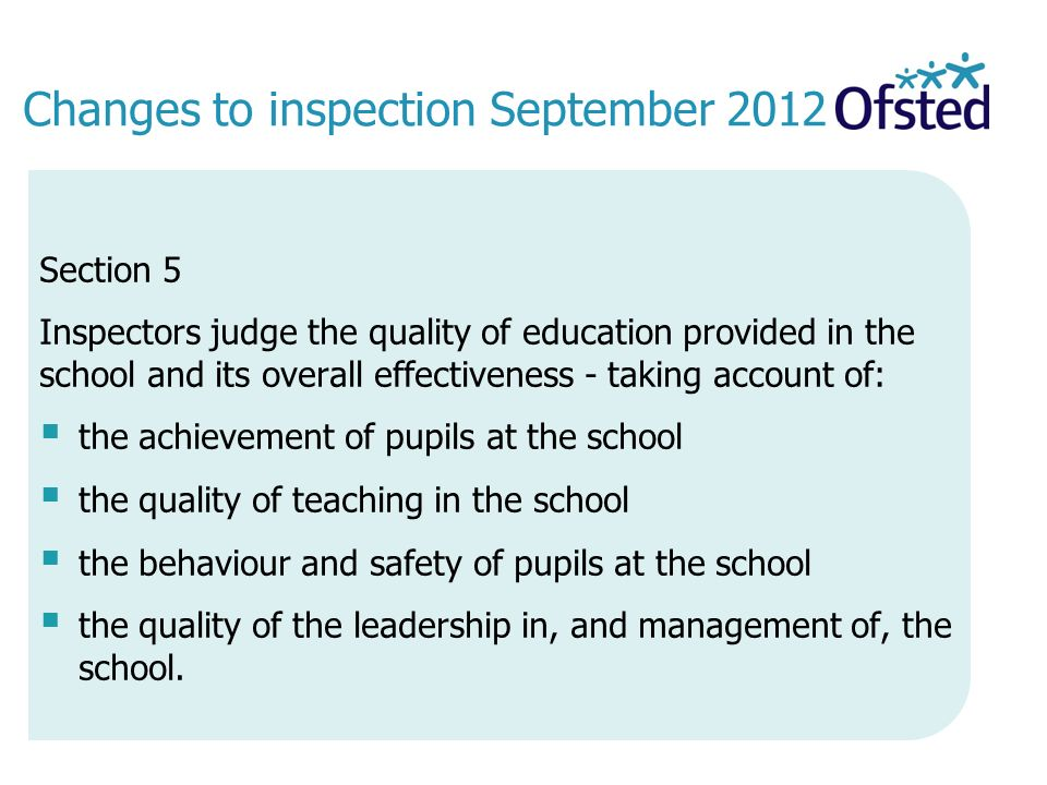 Changes to inspection September 2012