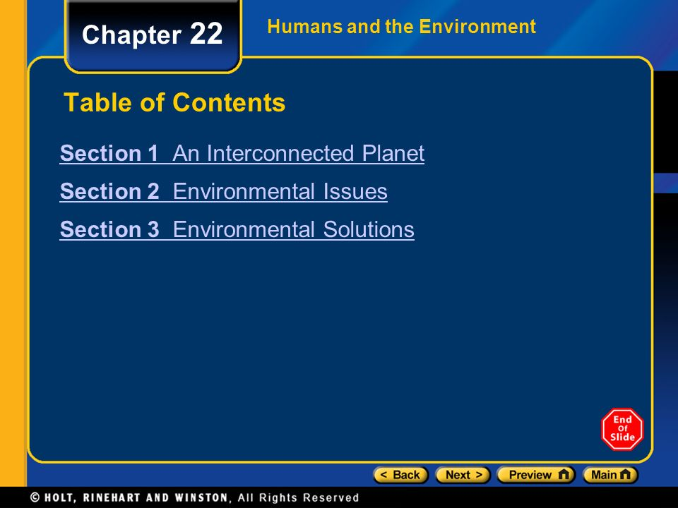 Chapter 22 Table of Contents Section 1 An Interconnected Planet