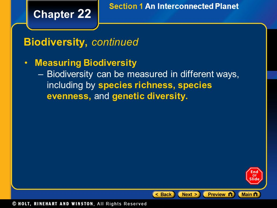 Biodiversity, continued