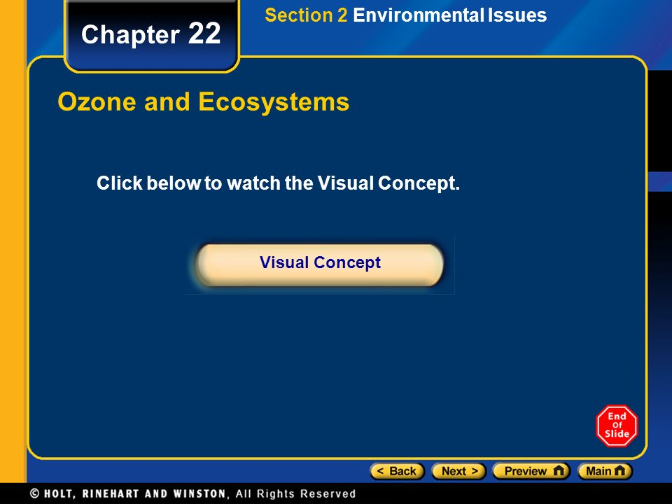 Chapter 22 Ozone and Ecosystems Section 2 Environmental Issues