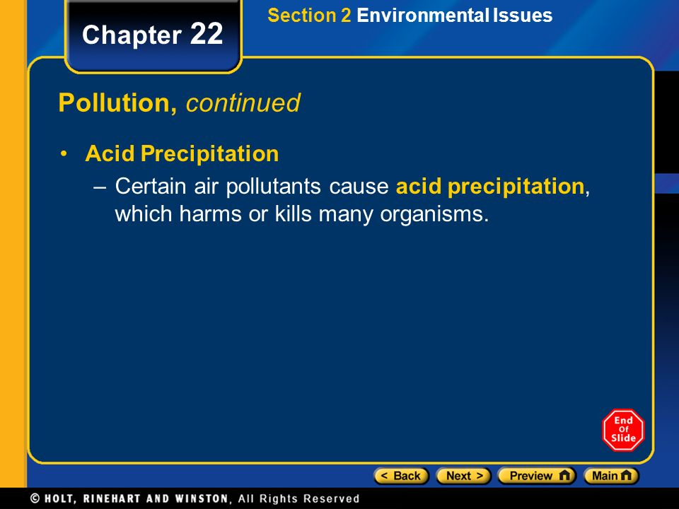 Chapter 22 Pollution, continued Acid Precipitation