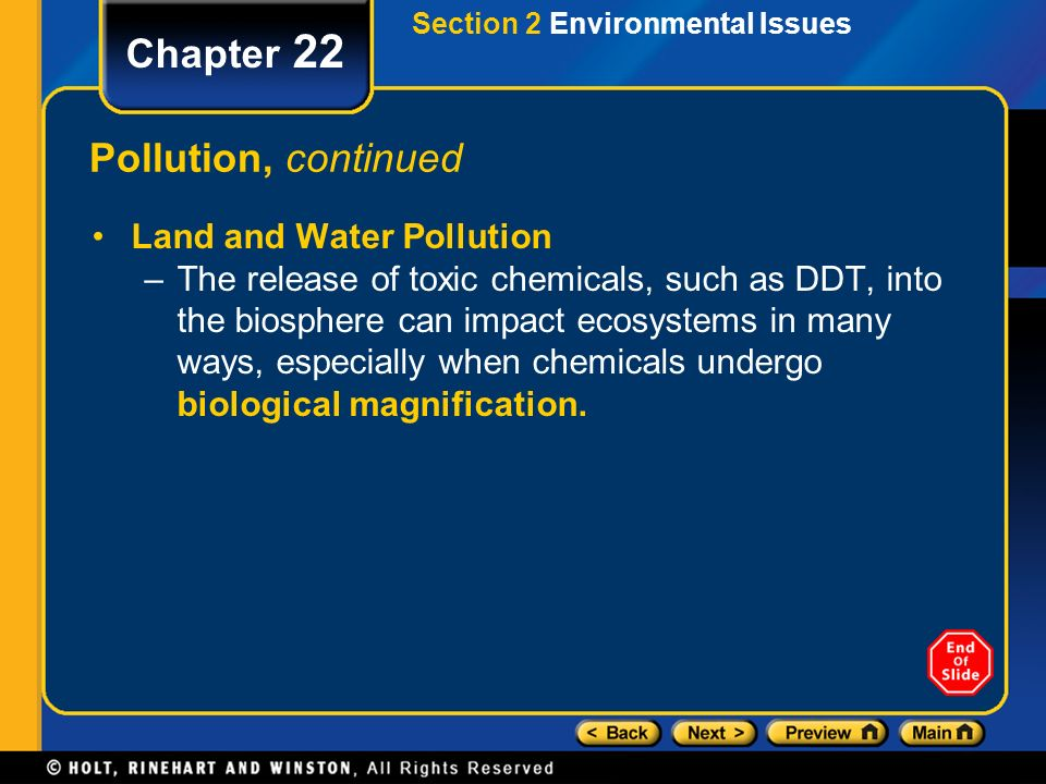 Chapter 22 Pollution, continued Land and Water Pollution