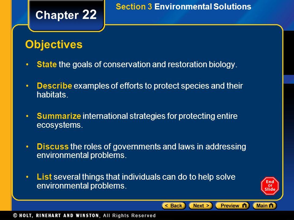 Chapter 22 Objectives Section 3 Environmental Solutions