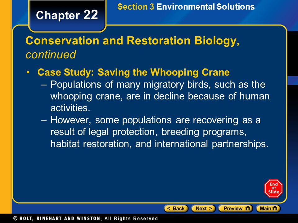 Conservation and Restoration Biology, continued